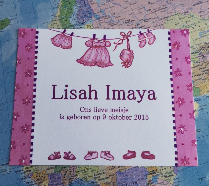 Geboortekaartje van Lisah Imaya