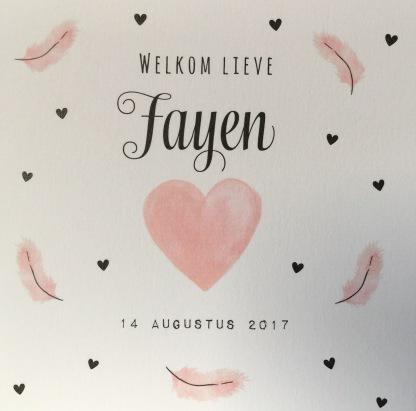 Voorkant geboortekaartje Fayen